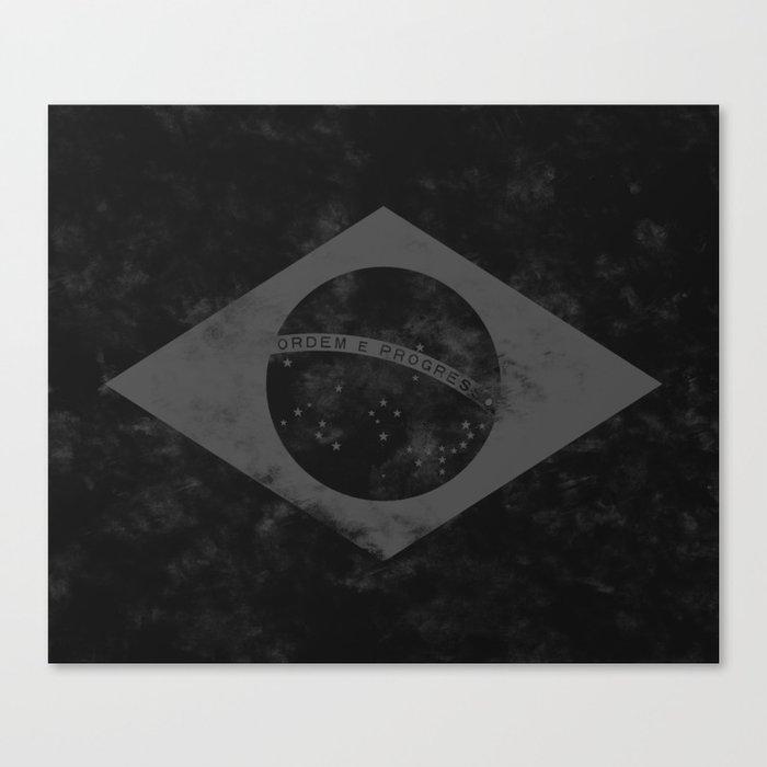 Black Brazil Flag Canvas Print