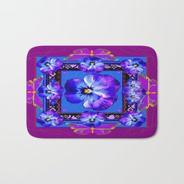 Purple Pansy & Butterflies Melody Abstract Bath Mat