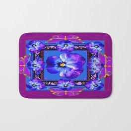 Purple Pansy & Butterflies Melody Abstract Bath Mat