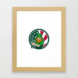 Irish-American Mechanic USA Flag Icon Framed Art Print