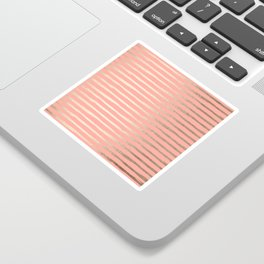 Abstract Stripes Gold Coral Pink Sticker
