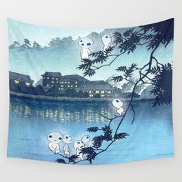 Kodama, Forest spirits vintage japanese woodblock mashup Wall Tapestry