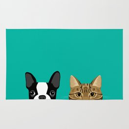 Boston Terrier & Tabby Rug