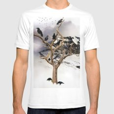 crows White Mens Fitted Tee MEDIUM