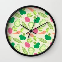 vegetable Wall Clocks featuring VEGETABLE PARTY! by Claudia Ramos Designs