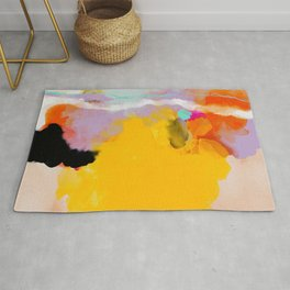 yellow blush abstract Rug