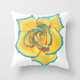 Yellow and Turquoise Rose Throw Pillow