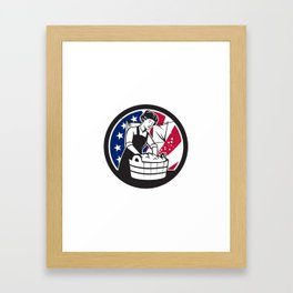 American Laundry USA Flag Icon Framed Art Print