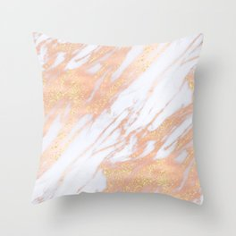 Marble - Rose Gold with Yellow Gold Glitter Shimmery Marble Throw Pillow