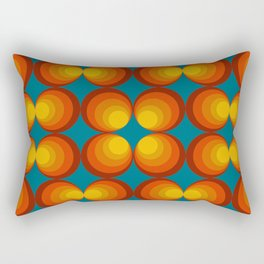 70s Circle Design - Teal Background Rectangular Pillow