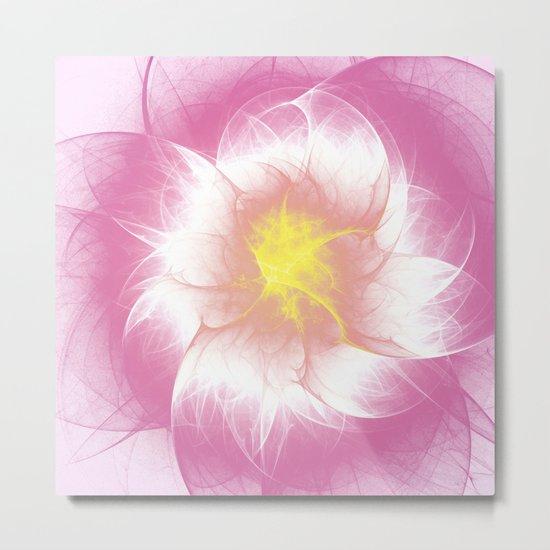 Pink Flower Fractal Metal Print
