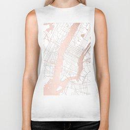 New York City White on Rosegold Street Map Biker Tank
