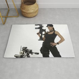 Swat Chick- Girl with SWAT Gear, Military Gun and Tactical Robot Rug