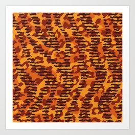 Orange brown yellow abstract safari animal print Art Print