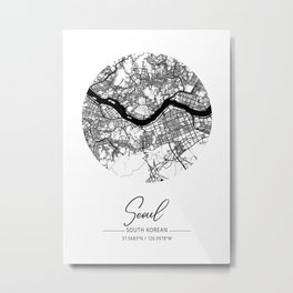 Seoul Area City Map, Seoul Circle City Maps Print, Seoul Black Water City Maps Metal Print