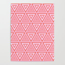 Vibrant Pink Tiled Triangle Pattern Poster