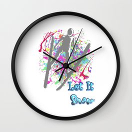 Let It Snow Skier Graffiti Wall Clock