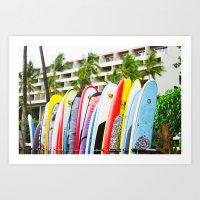 surfboard Art Prints featuring SURFBOARD by Julia Jean Kennedy