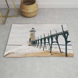 Manistee Lighthouse In Winter Rug