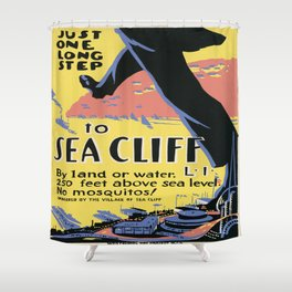 Vintage poster - Sea Cliff Shower Curtain