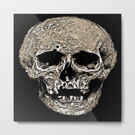 Full Skull With Rotting Flesh Vector Metal Print