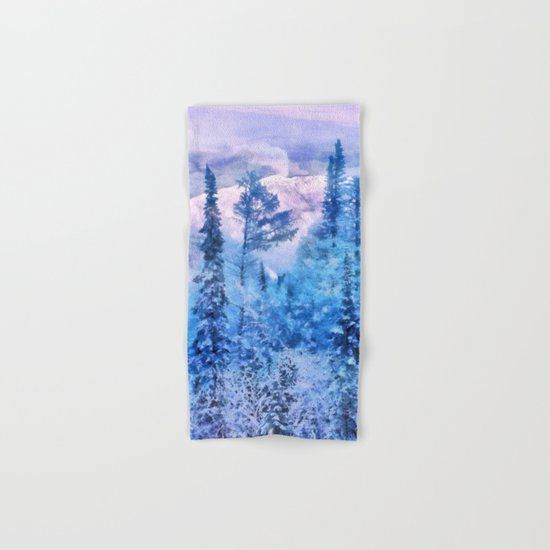 Winter forest in mountains Hand & Bath Towel