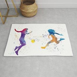 Women soccer players 01 in watercolor Rug