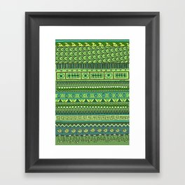 Yzor pattern 009 green-blue summer Framed Art Print