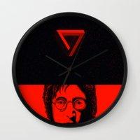 imagine Wall Clocks featuring Imagine by nicebleed