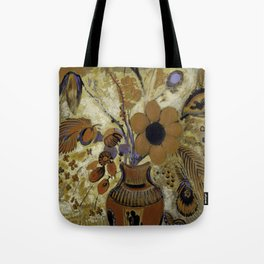 """Odilon Redon """"Etruscan Vase with Flowers"""" Tote Bag"""