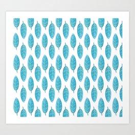 Peacock Blue Leaf Pattern Art Print