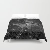 portland Duvet Covers featuring portland map by Line Line Lines