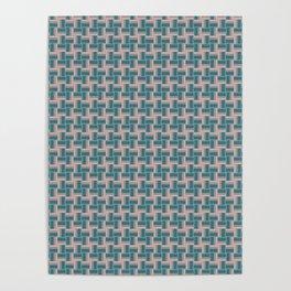 Teal Mauve Pinwheel Pattern Poster