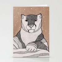 snow leopard Stationery Cards featuring Snow Leopard by Diana Hope