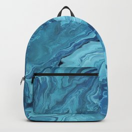 Teal Geode: Acrylic Pour Painting Backpack