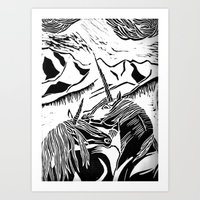 unicorns Art Prints featuring Unicorns by Lily Livingston