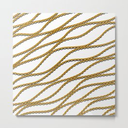 Wave Gold Chain White Metal Print