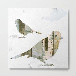 Reclaimed Wood Birds Metal Print