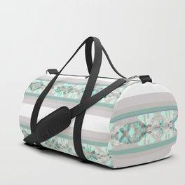 Decorative Teal Grey Stripe Pattern Duffle Bag