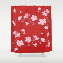 Cherry Blossom - Red Shower Curtain