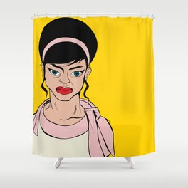 Retro looking angry woman. Pop Art. Shower Curtain
