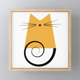 Figaro Cat Orange Pattern Framed Mini Art Print