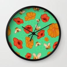 Poppies & Bees Wall Clock