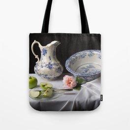 Delft blue china and apples still life Tote Bag