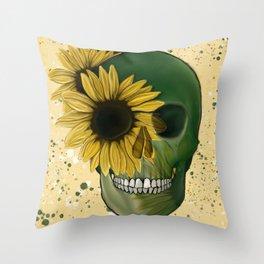 Sunflowers Skull Throw Pillow