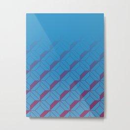 Squares in Blue Metal Print