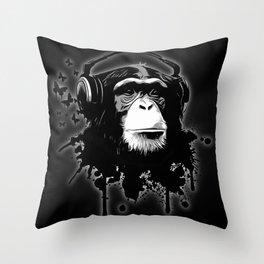 Monkey Business - Black Throw Pillow