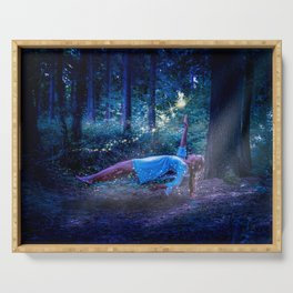 Woman Floating In Nature Serving Tray