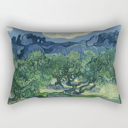 """Vincent van Gogh """"Olive Trees with the Alpilles in the Background"""" Rectangular Pillow"""