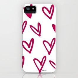 Lovely hearts - fuchsia heart pattern iPhone Case